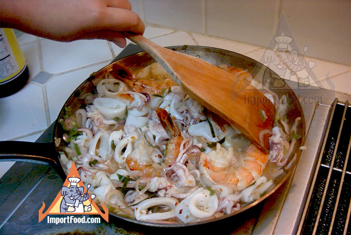 Cooking the seafood salad