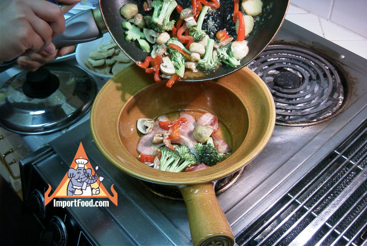 Add cooked vegetables