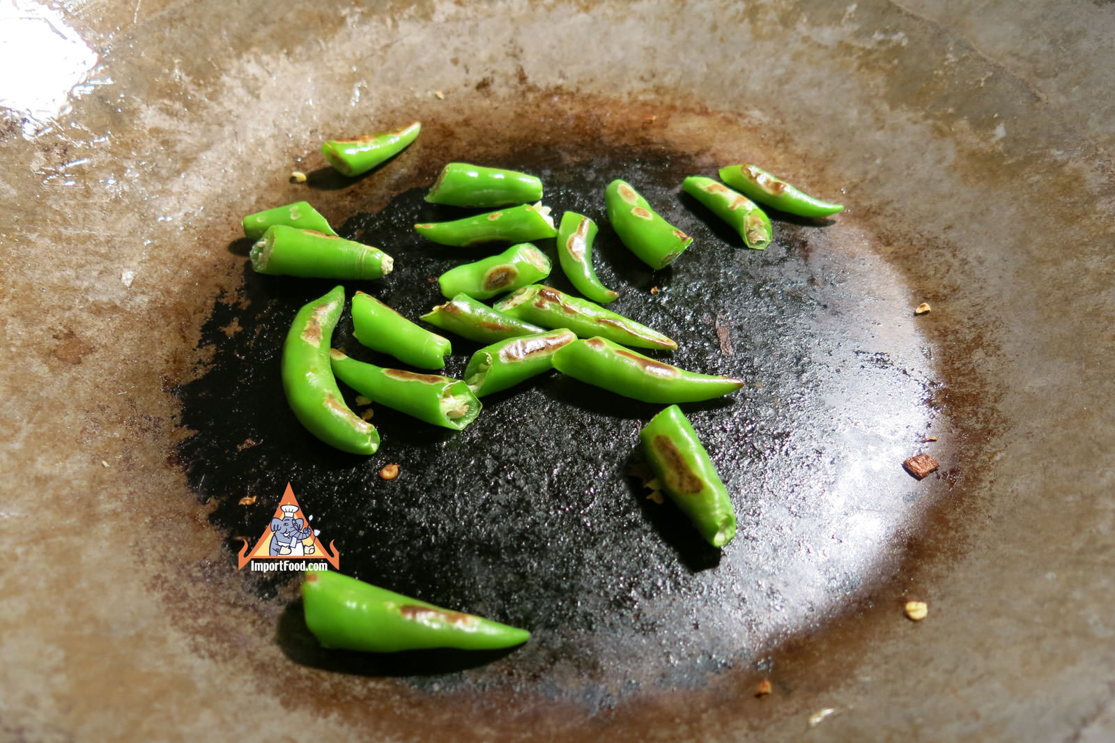 Thai chiles on dry wok