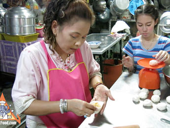 Salapao Steamed Buns Made by Thai Street Vendor