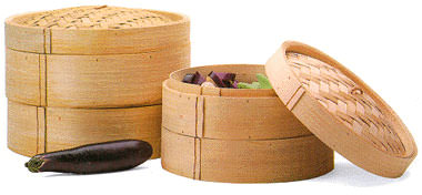 Bamboo steamer set, 3 piece, 12