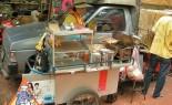 Thai Street Vendor Prepares Charcoal Barbecue Snacks, Luke Chinping
