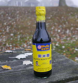 Black rice vinegar, Koon Chun brand, 20 oz bottle
