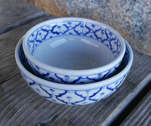 Handpainted Thai Ceramic, Set of Two Bowls