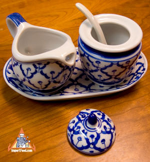 Thai Ceramic, cream and sugar set