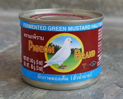 Thai Fermented Mustard Green, Pigeon Brand, 5 oz can