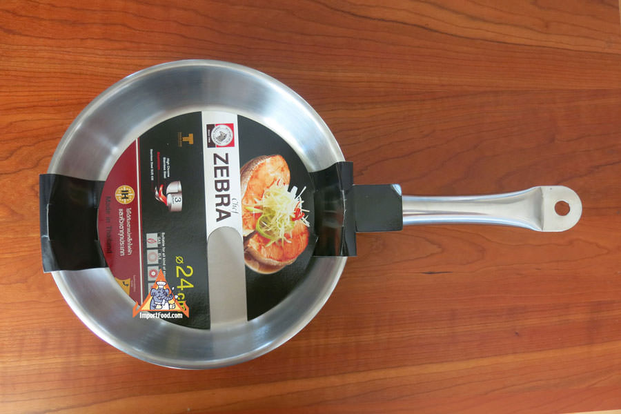 Thai Stainless Frying Pan, Zebra-Head Chef Series, 10