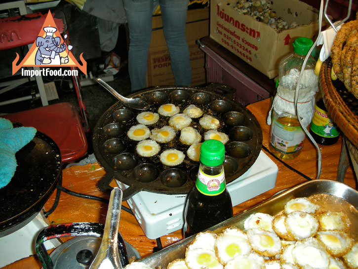 Quail Eggs Fried in Khanom Krok, Khai Nok Kra-Ta