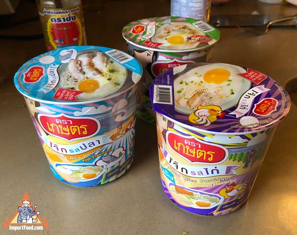 Instant Thai Porridge - Mama Jok Cup and Kaset Brand