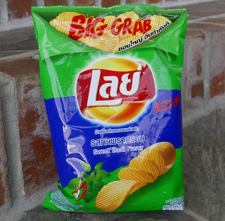 Thai Lays Potato Chips, Sweet Basil Flavor, 50 gram