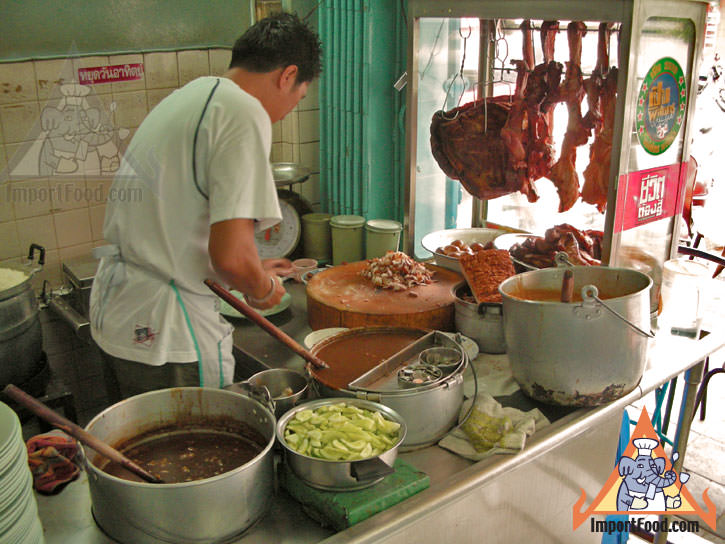 Bangkok Vendor Offers BBQ Red Pork in Gravy