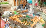 Thai Street Vendor Prepares Fried Pork Toast, Khanom Paung Na Moo