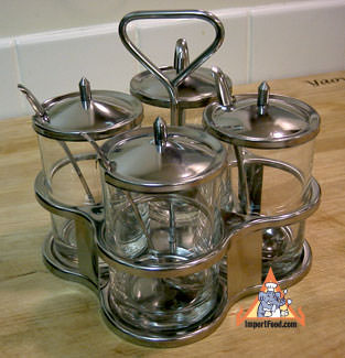 Thai condiment caddy, stainless, 4 glasses