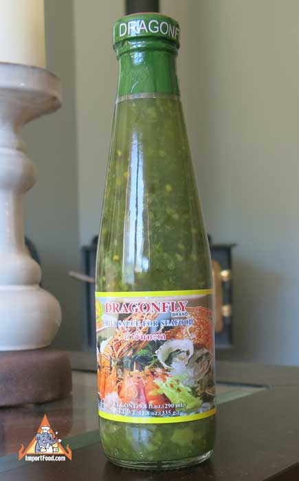 Thai green chili sauce, Dragonfly brand, 12 oz bottle