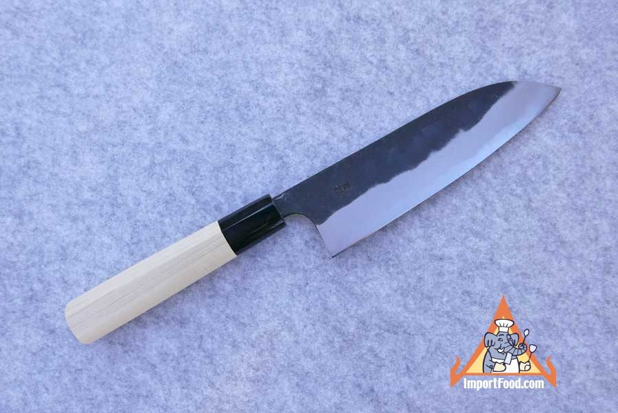 Hand Crafted Santoku Knife, Stingray Tip, Blue Steel, Magnolia Handle, Sakai Japan, 12.5