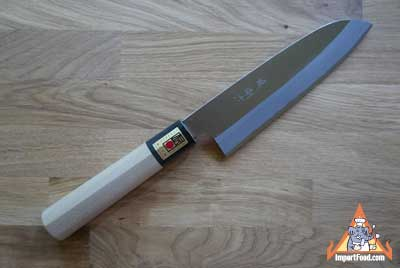 Hand Crafted Santoku Knife, Magnolia Handle, Sakai Japan, 12.5