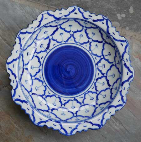 Ceramic, handpainted Thai serving dish, 7 in