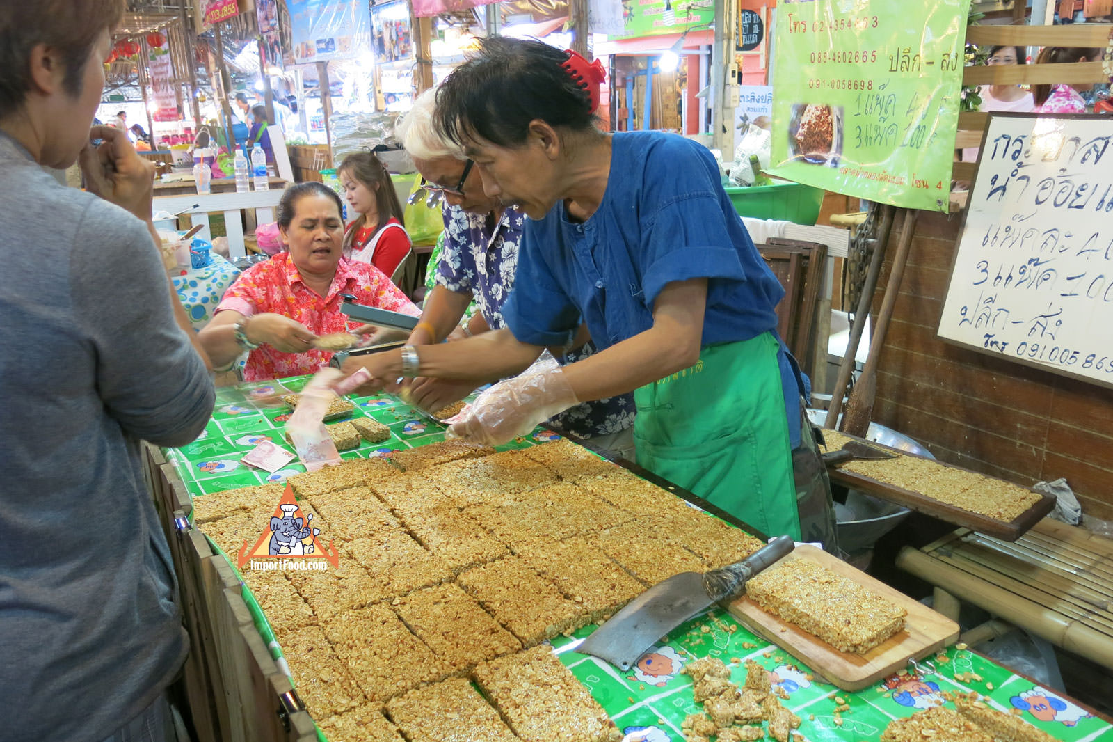 Thai Vendor Makes Sesame Snack Bars