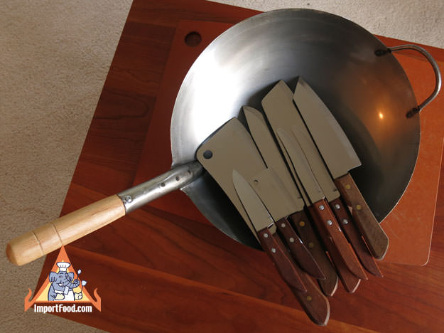 9 Piece Thai Knife and Wok Sets, includes one 14