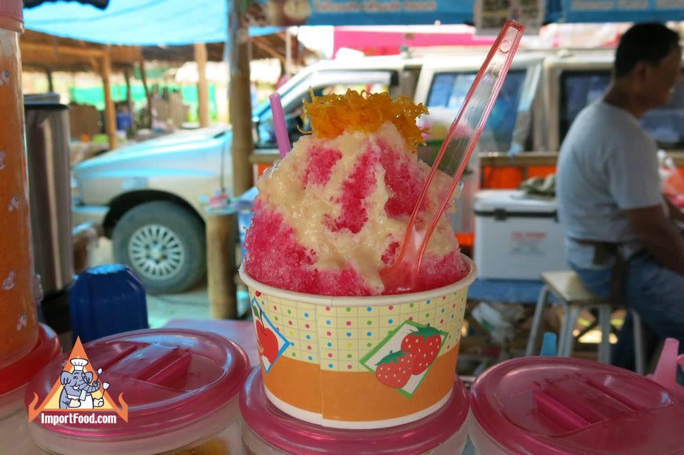 Thai Street Vendor Refreshing Shaved Ice Treats