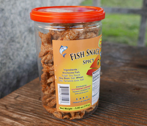 Shing Shang Fish Snack, Spicy, 5.95 oz jar