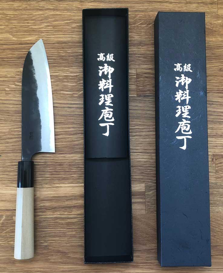 Hand Crafted Santoku Knife, Stingray Tip, Blue Steel, Magnolia Handle, Sakai Japan, 12.5