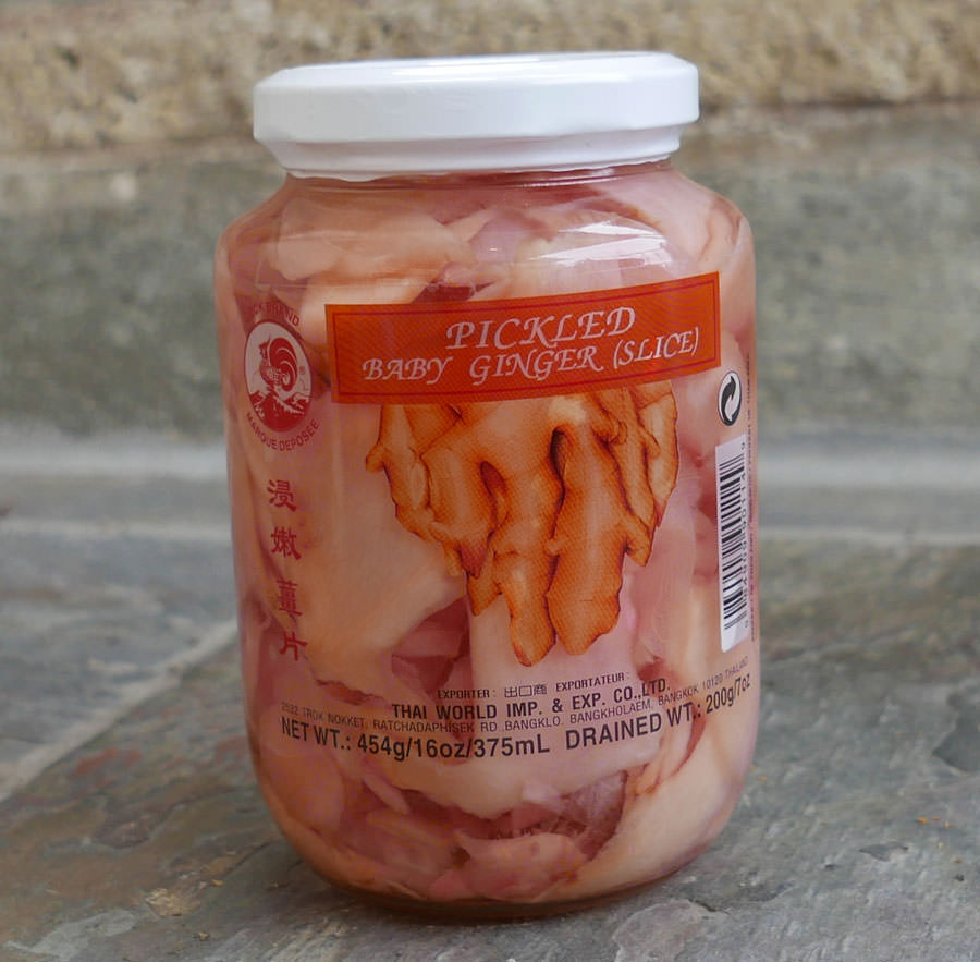 Thai Pickled Ginger Sliced 16 Oz Jar Importfood