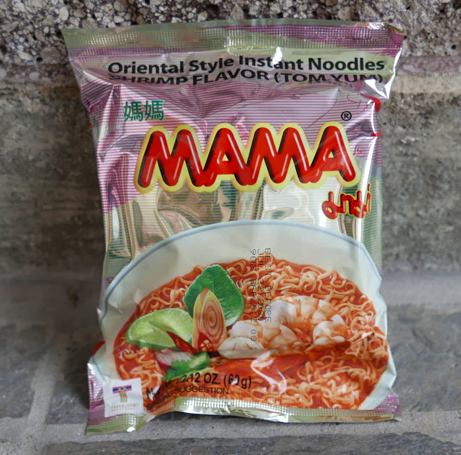 Mama brand, instant tom yum shrimp noodles